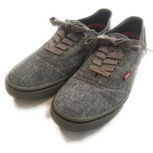 Levi's Gray Canvas Low Top Sneakers, Size 10  Mens